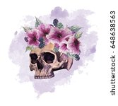 Skull with a wreath of petunias and blackberries. watercolor