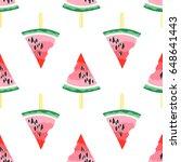 seamless pattern of watermelons.... | Shutterstock .eps vector #648641443