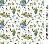 bright summer seamless pattern. ... | Shutterstock . vector #648643153
