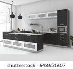 3d rendering black bar kitchen... | Shutterstock . vector #648651607