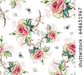 seamless rose pattern and...   Shutterstock . vector #648651967