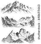 mountains vector set. hand... | Shutterstock .eps vector #648655663