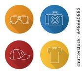 summer items flat linear long... | Shutterstock .eps vector #648660883