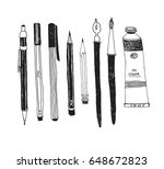 hand drawn art tools and... | Shutterstock .eps vector #648672823