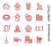 house icons set. set of 16... | Shutterstock .eps vector #648675427