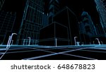 abstract 3d city rendering with ... | Shutterstock . vector #648678823
