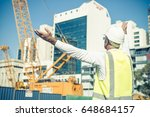 engineer man in helmet and... | Shutterstock . vector #648684157