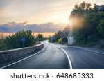 mountain road. landscape with... | Shutterstock . vector #648685333