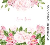 greeting card with peony ... | Shutterstock . vector #648707707