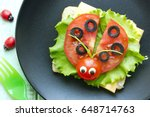 ladybug sandwich creative and... | Shutterstock . vector #648714763