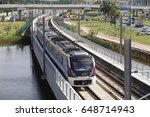 Small photo of The subway train is seen transiting in rails in Avenida Luiz Viana, in Salvador (Brazil). The system is administered by CCR Bahia. May 25, 2017.