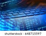 notebook computer keyboard.... | Shutterstock . vector #648715597