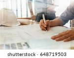 architects engineer discussing ... | Shutterstock . vector #648719503