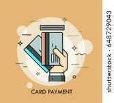 hand inserting credit or debit... | Shutterstock .eps vector #648729043