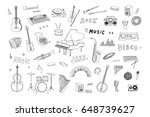 hand drawn doodle musical... | Shutterstock .eps vector #648739627