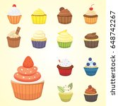 set of cute vector cupcakes and ...   Shutterstock .eps vector #648742267