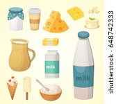 fresh organic milk products set ... | Shutterstock .eps vector #648742333