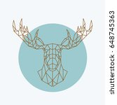 geometric moose head. wild... | Shutterstock .eps vector #648745363