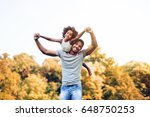 happy father and child spending ... | Shutterstock . vector #648750253