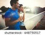 couple drinks water to... | Shutterstock . vector #648750517