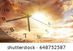 clock face in bright sky. time... | Shutterstock . vector #648752587