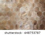 wooden background of hexagonal...   Shutterstock . vector #648753787