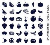 vegetarian icons set. set of 36 ... | Shutterstock .eps vector #648754303