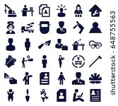 worker icons set. set of 36... | Shutterstock .eps vector #648755563