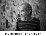 old painter   black and white... | Shutterstock . vector #648755857