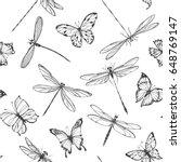 dragonflies and butterflies.... | Shutterstock .eps vector #648769147