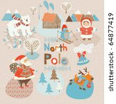 North Pole Christmas card - stock vector