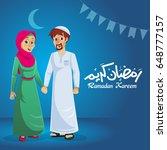 happy muslim family on blue... | Shutterstock .eps vector #648777157