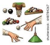 Set Billiard. Cue Sticks  Ball...
