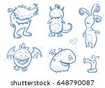 set of funny cute monsters ... | Shutterstock .eps vector #648790087