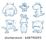set of funny cool monsters ... | Shutterstock .eps vector #648790093