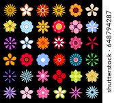 flower icons isolated on black... | Shutterstock .eps vector #648794287