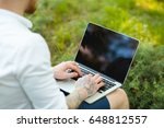 man enjoying to freelance works ... | Shutterstock . vector #648812557