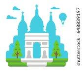 flat design triumph arch paris... | Shutterstock .eps vector #648839197