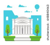 flat design pantheon rome... | Shutterstock .eps vector #648840463