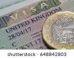 close up united kingdom visa in ... | Shutterstock . vector #648842803