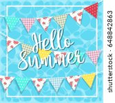 hello summer banner with...