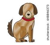cartoon sitting dog with collar ... | Shutterstock .eps vector #648846373