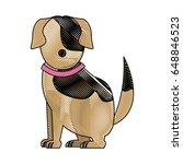 cartoon sitting dog with collar ... | Shutterstock .eps vector #648846523