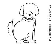 cartoon sitting dog with collar ... | Shutterstock .eps vector #648847423