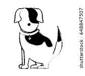 cartoon sitting dog with collar ... | Shutterstock .eps vector #648847507