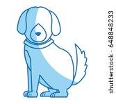 cartoon sitting dog with collar ... | Shutterstock .eps vector #648848233