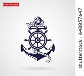 anchor with a rope and a... | Shutterstock .eps vector #648857647
