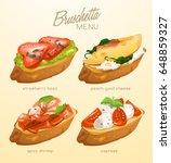 set of bruschetta   delicious... | Shutterstock .eps vector #648859327