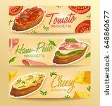 set of bruschetta   delicious... | Shutterstock .eps vector #648860677