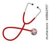 red medical stethoscope  | Shutterstock .eps vector #648862957